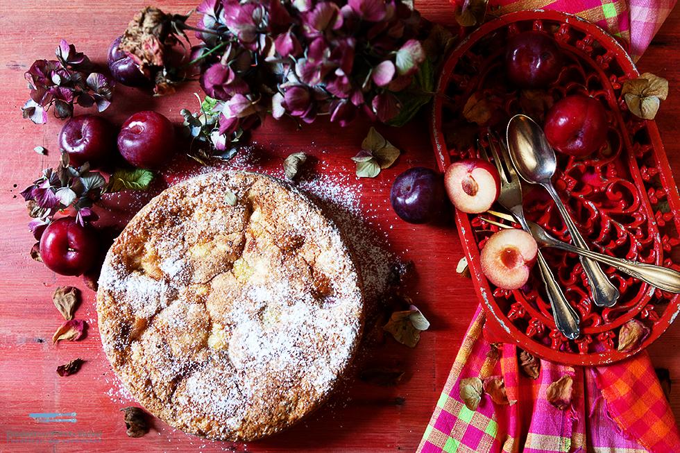 Versunkener Pflaumenkuchen Mit Olivenöl Und Ricotta